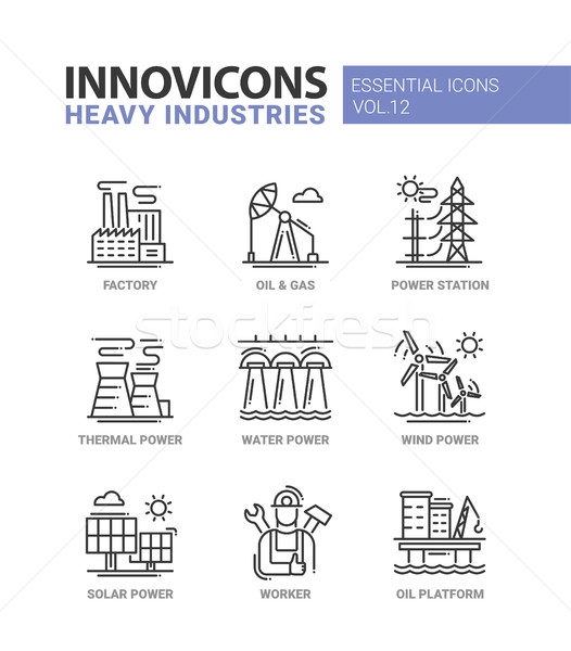 Heavy industry line design icons set Stock photo © Decorwithme