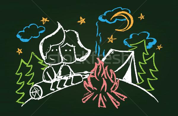 Illustratie heemst bos textuur brand Stockfoto © Decorwithme