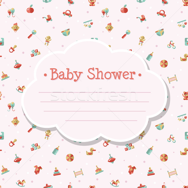 Illustration of flat design cute baby shower template Stock photo © Decorwithme