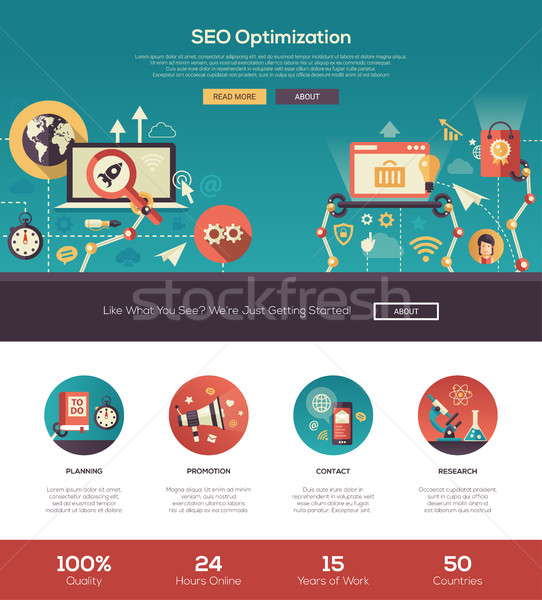 Flat design SEO optimization website header banner with webdesign elements Stock photo © Decorwithme