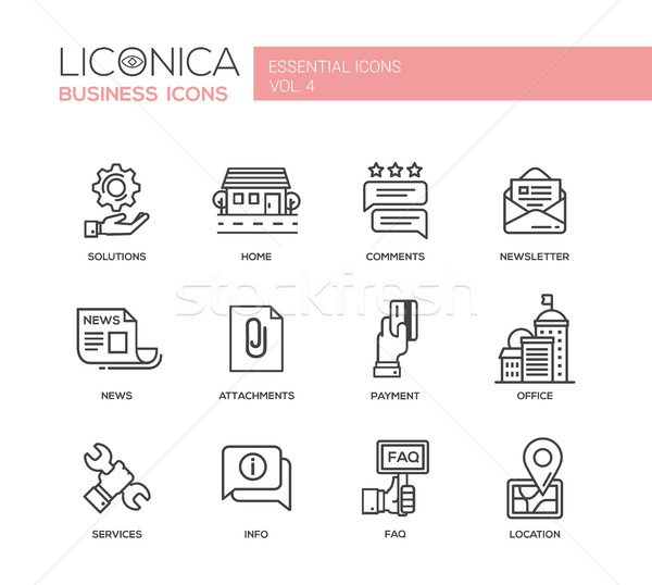 Set of modern office flat design icons and pictograms Stock photo © Decorwithme