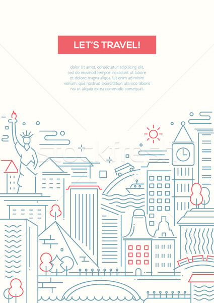 Travel composition - line flat design banner Stock photo © Decorwithme