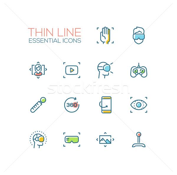 Virtual Reality - Thin Single Line Icons Set Stock photo © Decorwithme