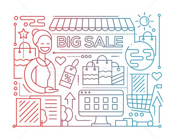 Big Sale - line design composition - color gradient Stock photo © Decorwithme