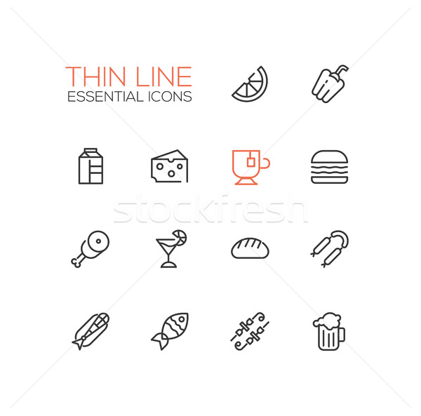 Kinds of Food Line Icons Set Stock photo © Decorwithme