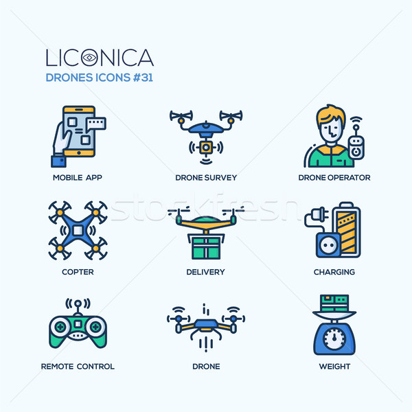 Drones - modern vector flat line design icons set. Stock photo © Decorwithme