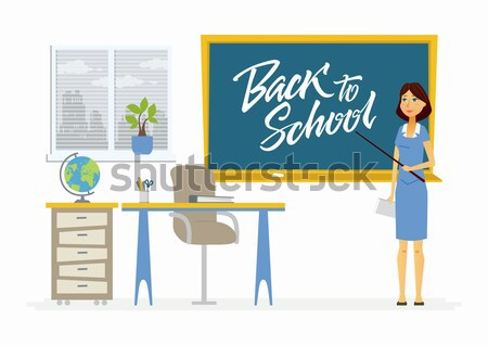 Vissza az iskolába betűk boldog diákok osztályterem iskolatábla Stock fotó © Decorwithme