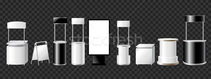 Set of advertising pillars, columns, pennants - modern vector isolated objects Stock photo © Decorwithme