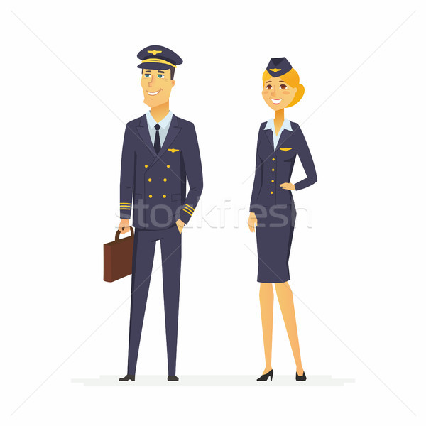 Pilot and flight attendant - cartoon people characters illustration Stock photo © Decorwithme