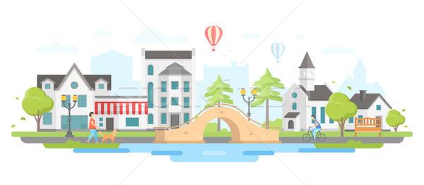 Foto stock: Paisaje · urbano · puente · moderna · diseno · estilo · blanco