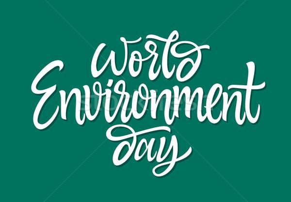 Mundo medio ambiente día vector dibujado a mano cepillo Foto stock © Decorwithme
