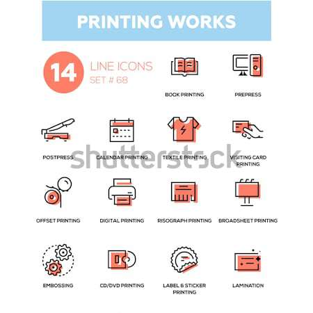 3D printing - line design icons set Stock photo © Decorwithme