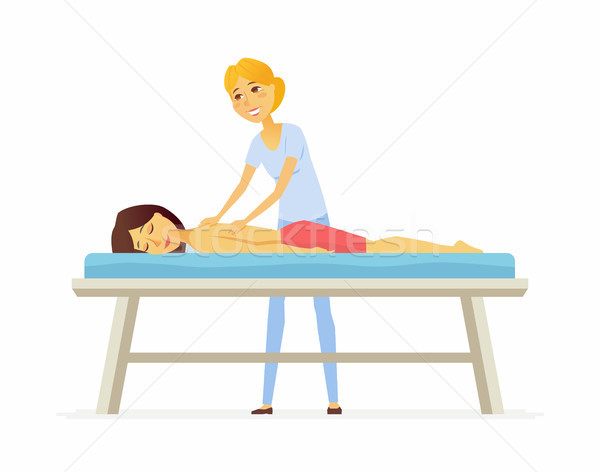 Young woman on a massage session - cartoon people character isolated illustration Stock photo © Decorwithme