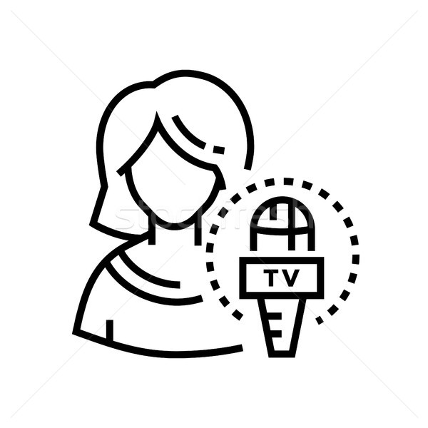 TV presenter - line design single isolated icon Stock photo © Decorwithme
