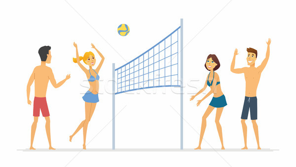 Beach volleyball - cartoon people character isolated illustration Stock photo © Decorwithme