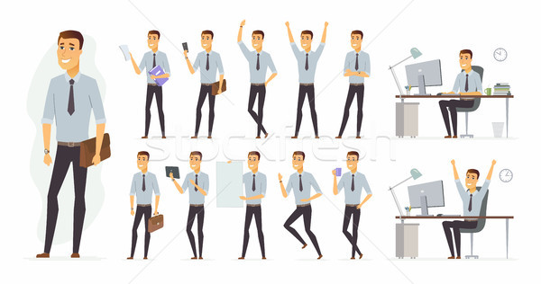 Cheerful businessman - vector cartoon people character set Stock photo © Decorwithme