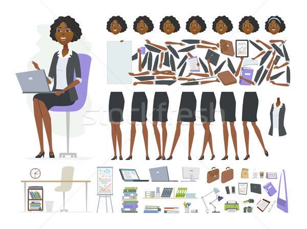 African businesswoman - vector cartoon people character constructor Stock photo © Decorwithme