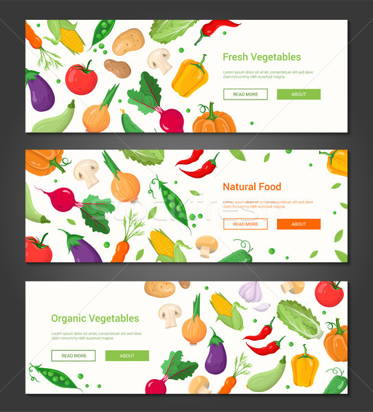 Stock photo: Natural food - set of modern colorful vector posters