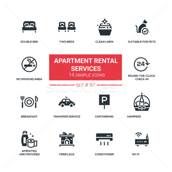 Apartment rental service - flat design style icons set Stock photo © Decorwithme