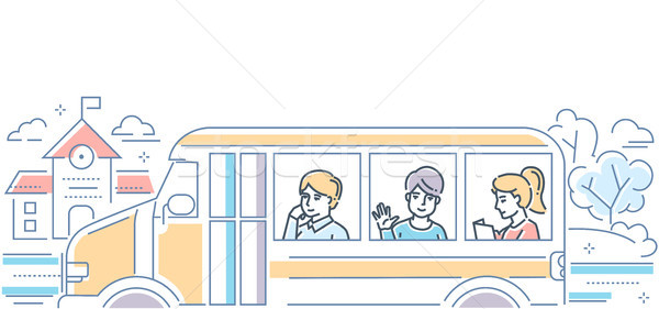 School Bus - modern colorful line design style illustration Stock photo © Decorwithme