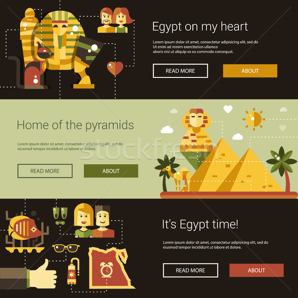 Flat design Egypt travel banners set with famous Egyptian symbols Stock photo © Decorwithme