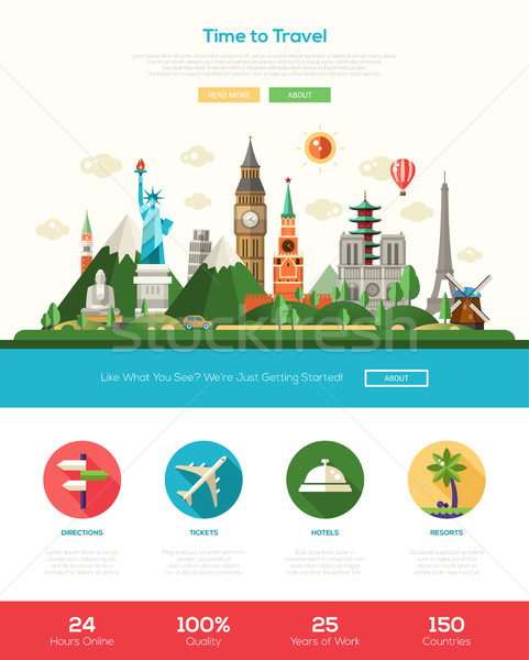 Flat design travel website header banner with webdesign elements Stock photo © Decorwithme