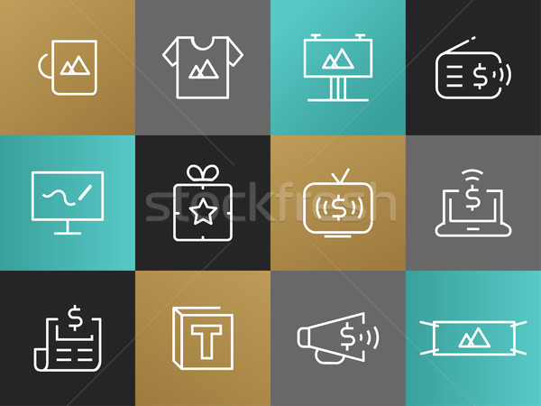Single Line Marketing, Advertising Pictograms Set Stock photo © Decorwithme