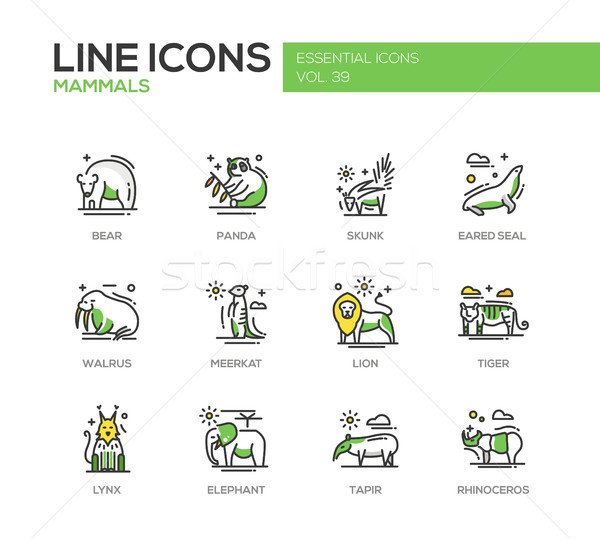 Mammals - line design icons set Stock photo © Decorwithme