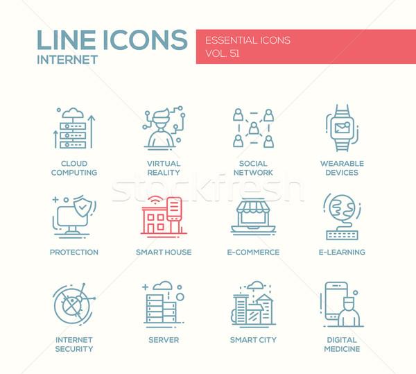 Internet - flat design line icons set Stock photo © Decorwithme