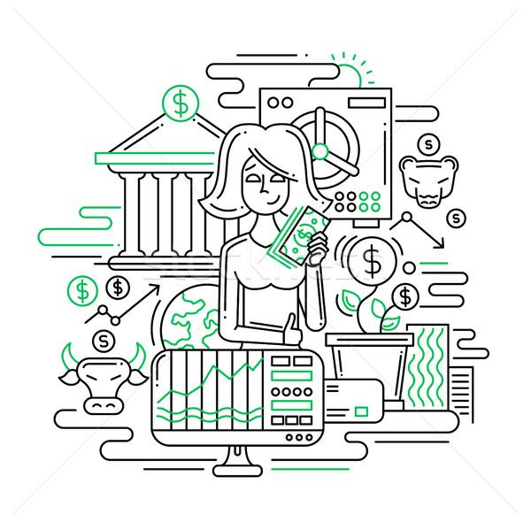 Businesswoman managing money - line design illustration Stock photo © Decorwithme