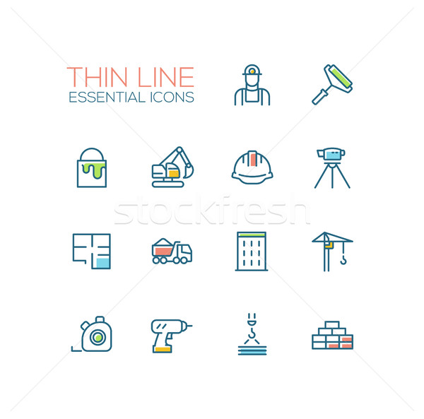 Construction - Thin Single Line Icons Set Stock photo © Decorwithme