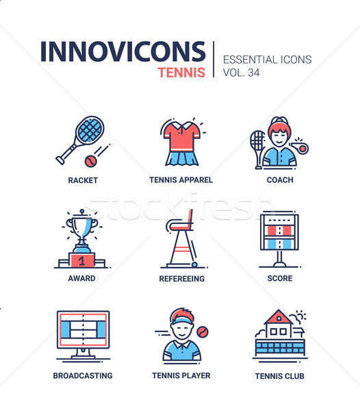 Tennis - modern vector line design icons set. Stock photo © Decorwithme