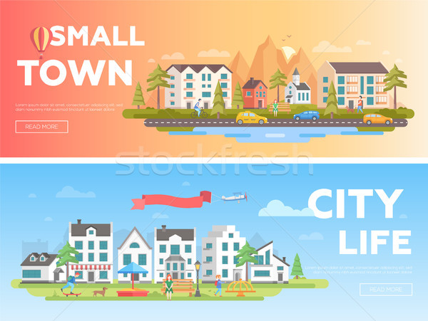 Town and city - set of modern flat vector illustrations Stock photo © Decorwithme
