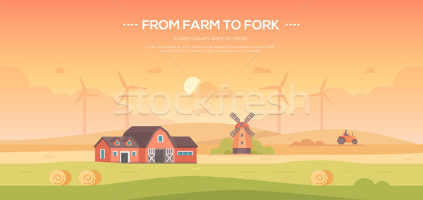 From farm to fork - modern flat design style vector illustration Stock photo © Decorwithme