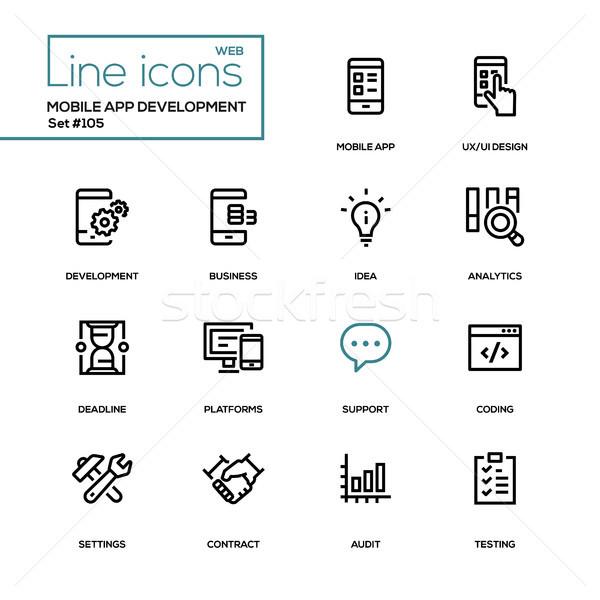 мобильных приложение развития современных линия дизайна Сток-фото © Decorwithme