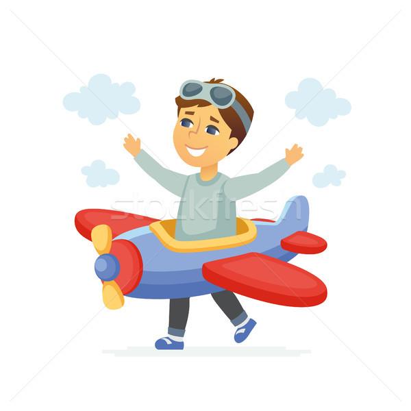 Menino piloto traje ilustração Foto stock © Decorwithme