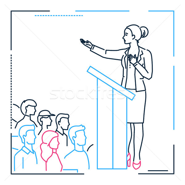 Businesswoman speaking from a platform - line design style illustration Stock photo © Decorwithme