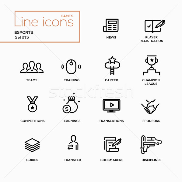 Esports - Single Line Pictograms Set Stock photo © Decorwithme