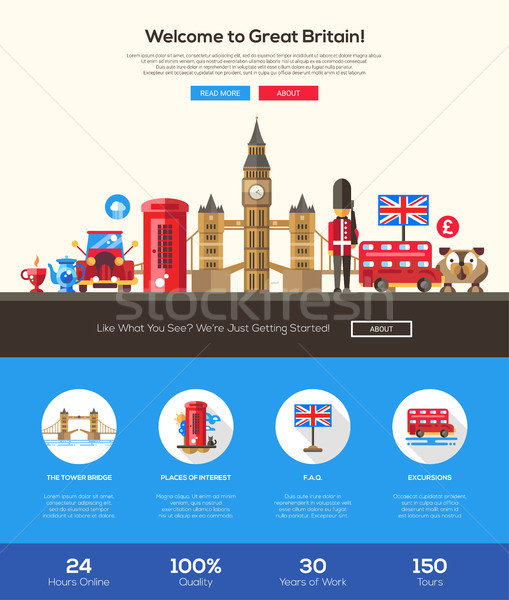Stock photo: Traveling to Great Britain website header banner with webdesign elements