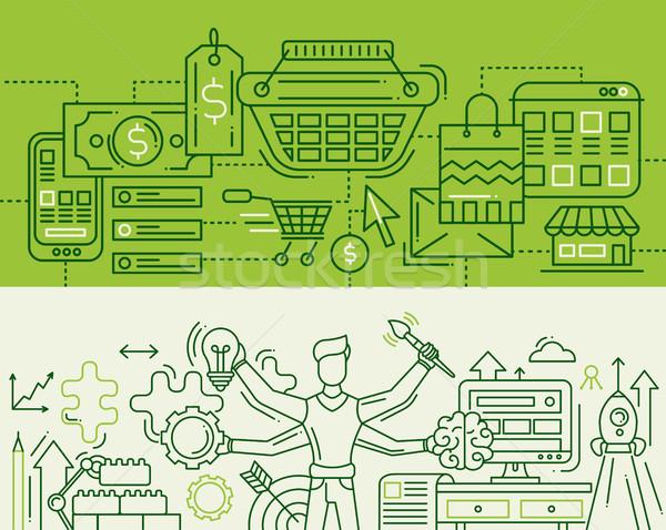 Kosár multitaszking vonal bannerek szett illusztráció Stock fotó © Decorwithme
