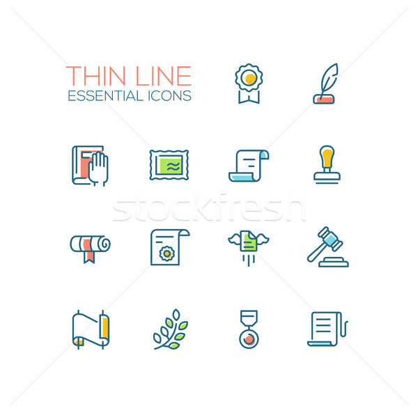 Law and Justice - Thin Line Icons Set Stock photo © Decorwithme