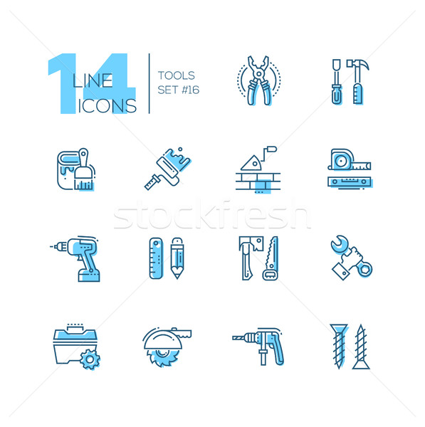 Tools - coloured modern single line icons set Stock photo © Decorwithme