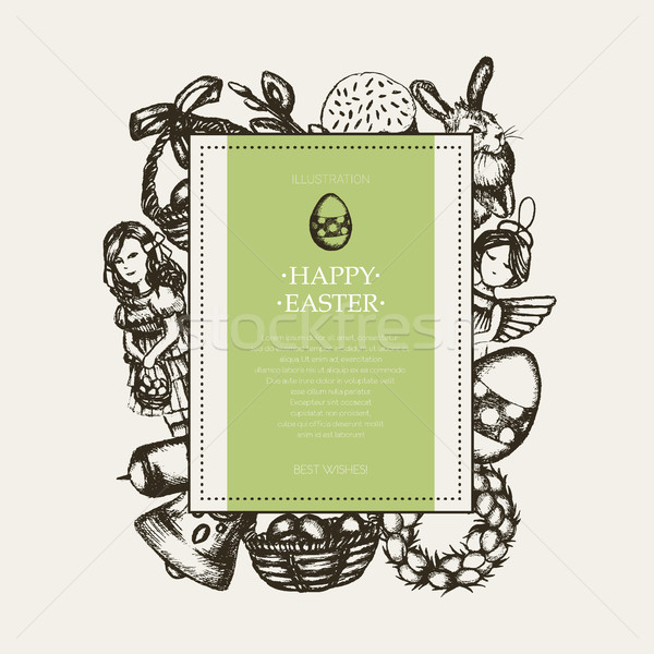 Happy Easter - monochromatic hand drawn square banner. Stock photo © Decorwithme