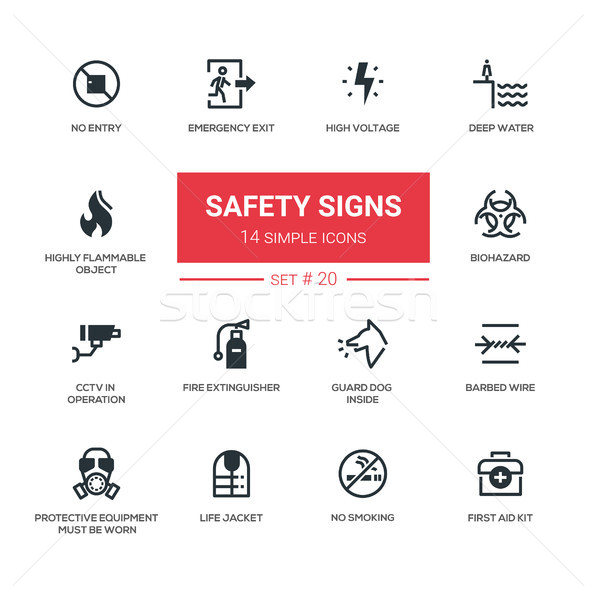 Safety Signs - modern simple icons, pictograms set Stock photo © Decorwithme