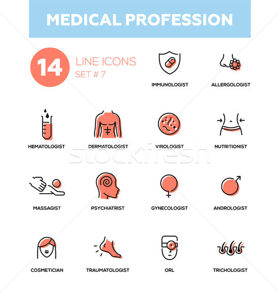 Medical professions - Modern simple thin line design icons, pictograms set Stock photo © Decorwithme