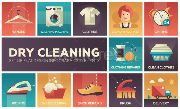 Dry cleaning - set of flat design infographics elements Stock photo © Decorwithme