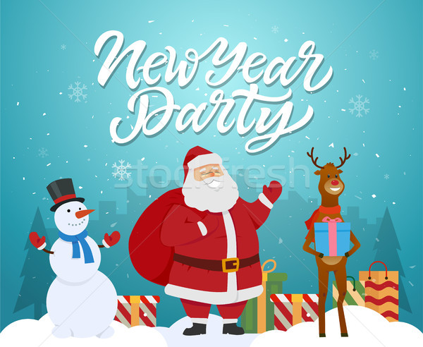 New Year party - cartoon characters illustration with Santa, raindeer, snowman Stock photo © Decorwithme