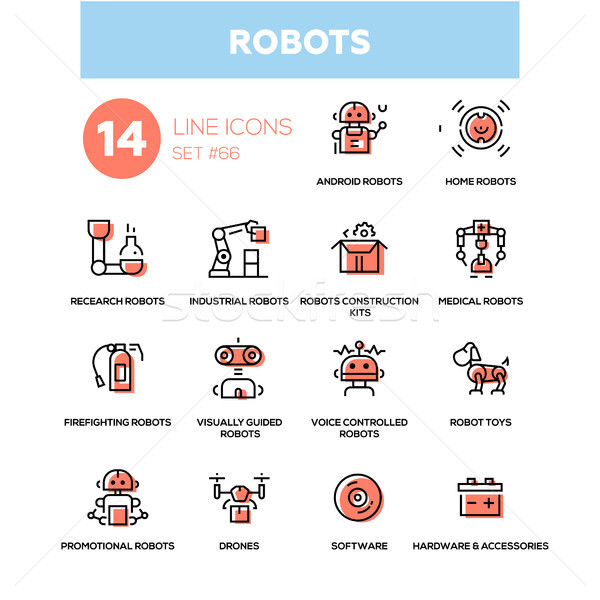 Robots - line design icons set Stock photo © Decorwithme