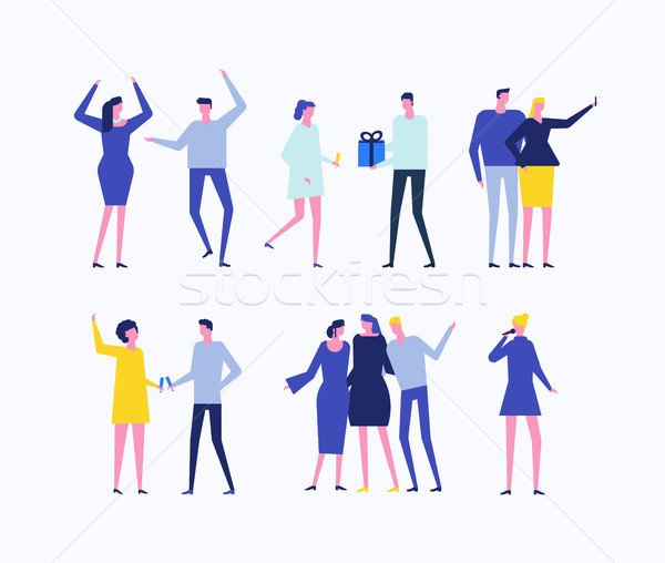 Party - flat design style set of isolated characters Stock photo © Decorwithme