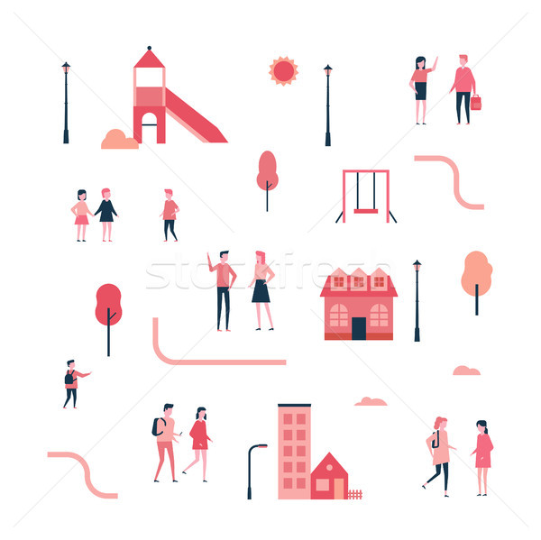 City - flat design style set of isolated elements Stock photo © Decorwithme